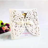 Ivory Invitation Card Laser Cut Paper Elegant Invitation Square Wedding Invitation